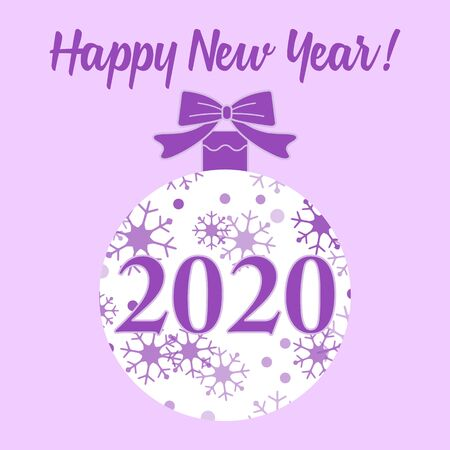 Happy New Year 2020. Vector winter illustration with Christmas ball decorated with snowflakes. Festive background. Design for banner, poster, print.