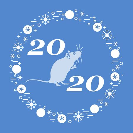 Happy new year Vector illustration with 2020 year numbers, rat, snowflakes, christmas balls Rat zodiac sign, symbol of 2020 Chinese New Year. Year of the rat, mouse Festive background Design for print Иллюстрация