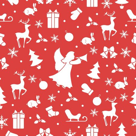 Merry Christmas Happy New Year 2020 background. Vector seamless pattern with angel, Santa Claus reindeer, gifts, Christmas sock, bells, hare, Christmas tree, ball, mistletoe, sled, mittens, snowflakes