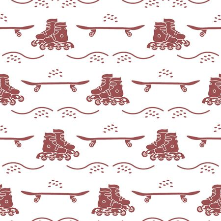 Vector seamless pattern with rollers, skateboard. Athletic, healthy lifestyle for every person. Family vacation. Sports background. Design for packaging paper, fabric, print.