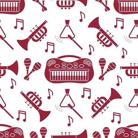Vector seamless pattern with children's musical toys. Illustration with musical instruments. Maracas, synthesizer, trumpet, triangle and notes. Toys for kids. Design for packaging paper, fabric, print Banco de Imagens - 132119630