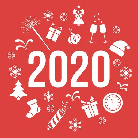 Happy New Year 2020. Merry Christmas. Vector illustration. Gifts, fireworks, bells, Santa Claus hat, clock, Christmas tree, firecracker, Christmas sock, snowflakes. Design for print. 向量圖像