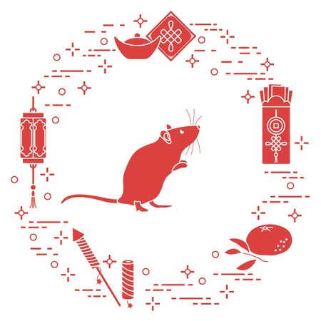 Happy new year. Vector illustration with rat, chinese lantern, tangerine, envelope, fireworks, ingot. Holiday traditions, symbols Chinese New Year celebration. Rat zodiac sign, symbol of 2020 year Stockfoto - 132119639
