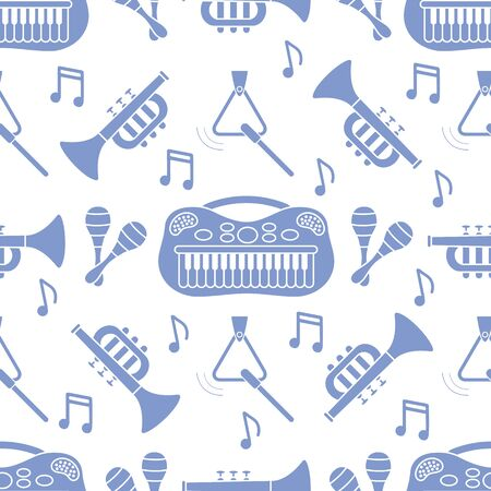 Vector seamless pattern with childrens musical toys. Illustration with musical instruments. Maracas, synthesizer, trumpet, triangle and notes. Toys for kids. Design for packaging paper, fabric, print Illustration
