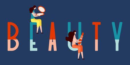 Vector illustration with girls, beauty inscription, mirror, lipstick. Beauty cosmetic salon. Woman stuff, makeup. Decorative cosmetics. Girls accessory concept. Glamour fashion vogue style. Illusztráció