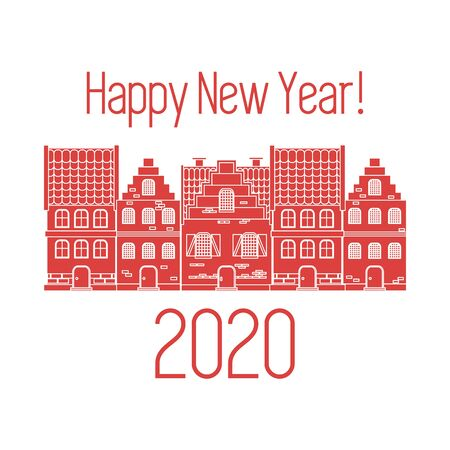 Happy New Year 2020 card. Merry Christmas. Vector illustration houses. New year, festive background. Design for postcard, banner, print.