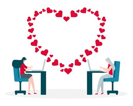 Vector illustration with online dating. Modern technology for dating. Virtual relationship and love. Communication between people through network. Design for website, app, banner, poster or print. 向量圖像