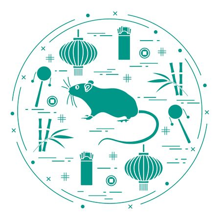 Happy new year. Vector illustration rat, bamboo, Chinese lantern, coin for luck, envelope, rattle drum. Holiday traditions, symbols Chinese New Year celebration. Rat zodiac sign, symbol of 2020 year Stock Illustratie