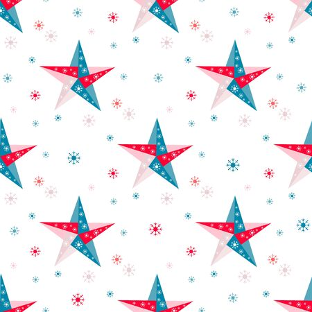 Happy new year 2020, Merry Christmas. Vector seamless pattern with origami stars and snowflakes. Festive background. Winter backdrop. Design for fabric, print, wrapping paper. Stok Fotoğraf - 132119655