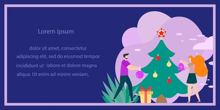 Happy New Year 2020 card. Merry Christmas. Vector illustration with people decorate Christmas tree. New year, festive background. Design for web page, presentation, postcard, banner, print. Flat style
