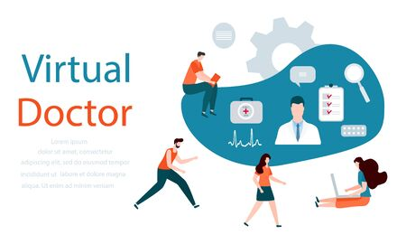 Vector illustration People, online doctor, list of medical appointments, first aid kit, magnifier, pill, cardiogram Online Medical supervision monitoring services Flat style Design for website, print