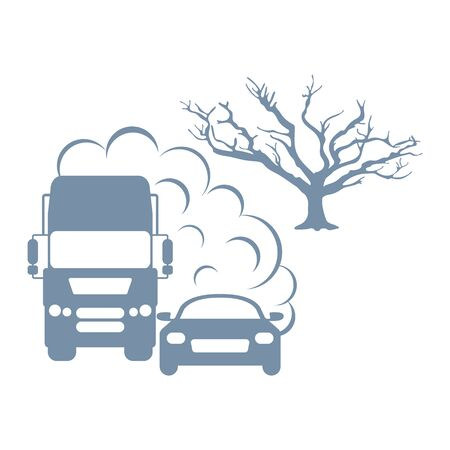 Vector illustration with cars, emits smog exhaust, tree. Environmental pollution concept. CO2 emissions cloud dioxide. Smoke pollutant, damage, contamination, combustion products Ecology Air pollution