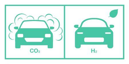 Vector illustration comparison environmentally friendly hydrogen fuel car vs gas polluting car. Ecology concept Eco Environmental Protection. Smoke pollutant vs renewable electric power, zero emission