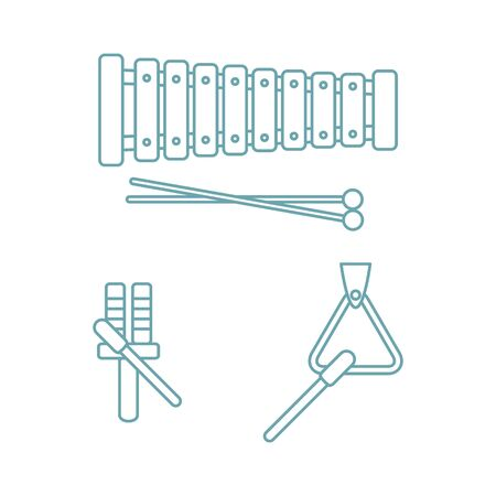 Vector illustration with xylophone, tuning fork, triangle in trendy color isolated on white background. Childrens music toys. Musical instruments. Toys for kids. Design for website, print  イラスト・ベクター素材