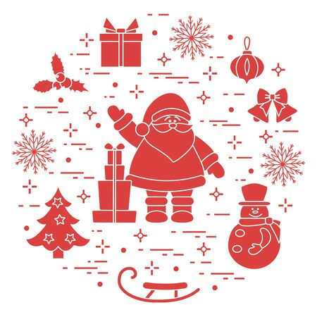 Merry Christmas Happy New Year 2020. Vector illustration  Santa Claus, gifts, bells, Christmas tree, mistletoe, snowman, sleigh, Christmas decorations, snowflakes. Festive background. Design for print