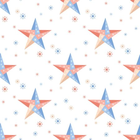 Happy new year 2020, Merry Christmas. Vector seamless pattern with origami stars and snowflakes. Festive background. Winter backdrop. Design for fabric, print, wrapping paper.  イラスト・ベクター素材