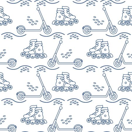 Vector seamless pattern with rollers, kick scooter. Athletic, healthy lifestyle for every person. Family vacation. Sports background. Design for packaging paper, fabric, print. Ilustração