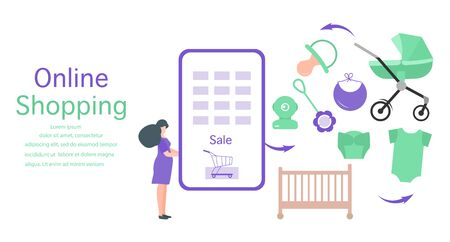 Vector illustration Pregnant woman makes purchases in online store Phone, stroller, crib, dummy, rattle, baby monitor, bib, diaper, bodysuit Newborn baby accessories Online shopping Technology concept
