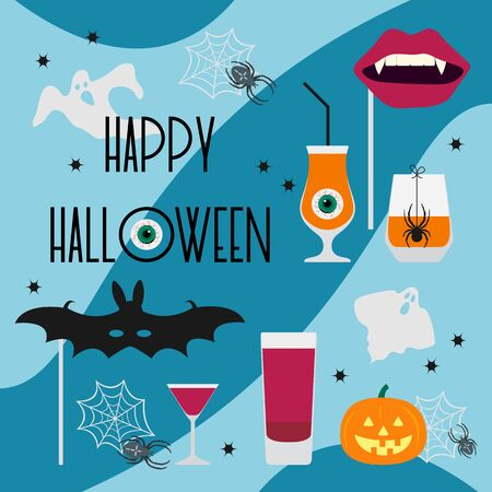 Halloween party 2020 Vector illustration inscription Halloween party, glass, spider, spider web, bat mask, vampire mouth mask, ghosts, Jack O'Lantern, eye Festive background Design party card, print
