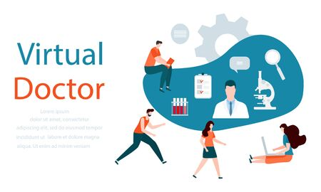 Vector illustration with people, online doctor, microscope, list of medical appointments, medical tests, test tubes, magnifier Online Medical supervision services Flat style Design for website, app
