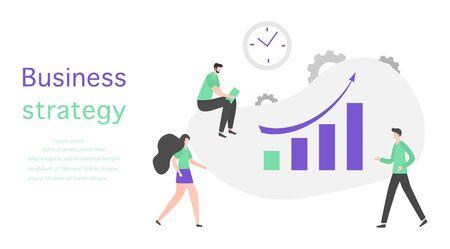 Vector illustration People Development Business strategy, profit growth planning, financial increase Research, statistics, marketing, study performance indicators, optimization, data analysis concept Illusztráció