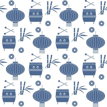 Vector seamless pattern with paper lantern, drum, bamboo. Traditional attributes national holidays of Asia. Culture of Korea, Japan, China. Happy new year 2020 Design for fabric, print, wrapping paper