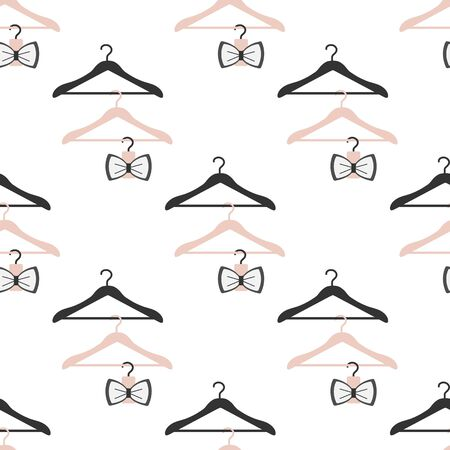 Vector seamless pattern with clothes hangers. Dry cleaning and laundry service. Black friday, big sale, discount. Organization of storage in a wardrobe. Design for packaging paper, fabric, print.