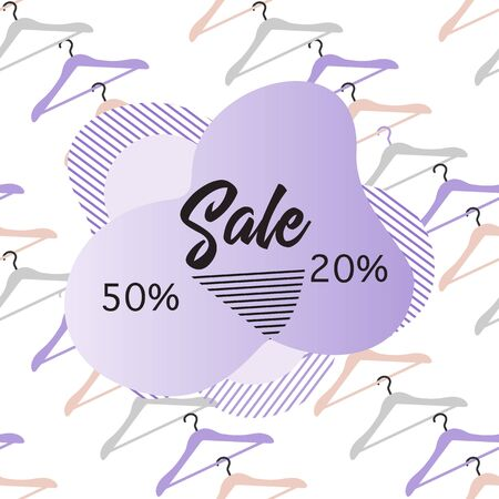 Seamless pattern Hangers, inscription Sale 50, 20 percent price reduction advert. Black Friday, Cyber Monday background. Purchase Discount promo layout. Design for website, poster, presentation, print