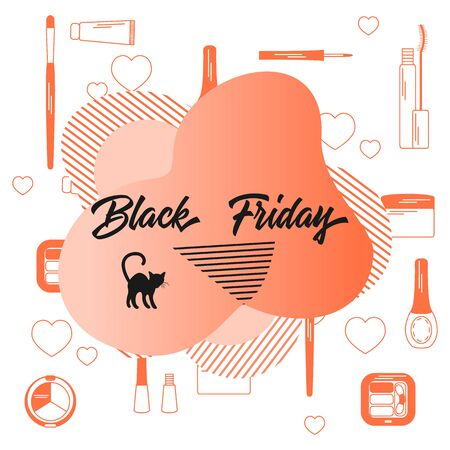 Vector illustration with decorative cosmetics, makeup, inscription Black Friday. Sale background. Price reduction advert. Purchase. Discount promo layout. Design for website, banner, poster, print
