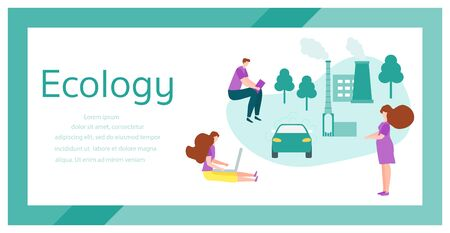 Vector illustration with people and eco-friendly industry factory, car. Environmental Protection. Ecology. Save the planet and environment concept. Eco green city. Protecting people health. Fresh air