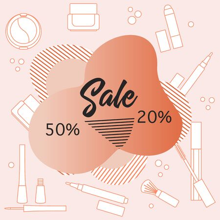 Vector illustration Decorative cosmetics, makeup, inscription Sale. 50, 20 percent price reduction advert Black Friday, Cyber Monday background Purchase Discount promo layout Design for website, print 일러스트