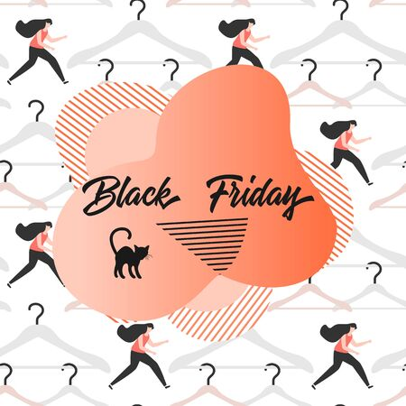 Seamless pattern with hangers, girls, inscription Black Friday. Sale background. Price reduction advert. Purchase. Discount promo layout. Advertising. Design for website, presentation, poster, print