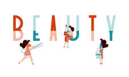 Vector illustration with girls, beauty inscription, lipstick, scissors. Beauty cosmetic salon Woman stuff, makeup Decorative cosmetics Girls accessory concept Fashion style Design for web page, print. Ilustracja