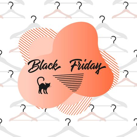 Seamless pattern with hangers and inscription Black Friday. Sale background. Price reduction advert. Purchase. Discount promo layout. Advertising. Design for website, presentation, poster, print