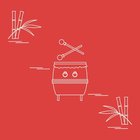 Vector illustration with bamboo, drum. Chinese folk percussion instrument. Traditional attributes national holidays of Asia. Culture of Korea, Japan, China. Happy new year 2020. Design for print.