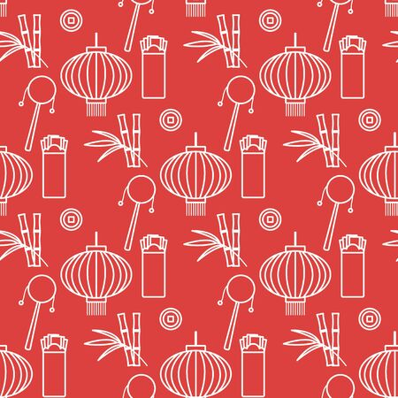 Vector seamless pattern with paper lantern, coin for luck, envelope, bamboo. Holiday traditions, symbols Chinese New Year celebration. Culture of China. Happy new year 2020 Design for fabric, print.