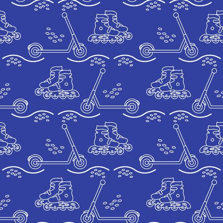 Vector seamless pattern with rollers, kick scooter. Athletic, healthy lifestyle for every person. Family vacation. Sports background. Design for packaging paper, fabric, print. Stok Fotoğraf - 133237149
