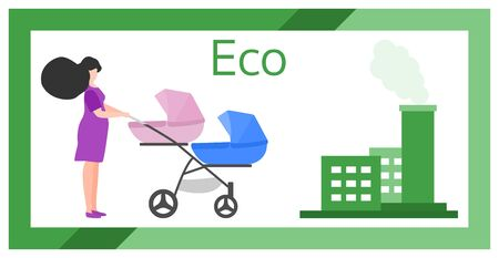 Vector illustration with baby stroller, pregnant woman, factory pipes emitting smoke. Air Environmental pollution concept. Ecology Industrial smog, smoke pollutant, contamination, combustion products