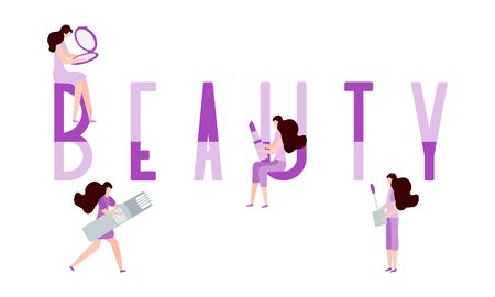 Vector illustration with girls, beauty inscription, lipstick, razor, mirror. Beauty cosmetic salon Woman stuff, makeup Decorative cosmetics Girls accessory concept Fashion style Design for print. Ilustracja