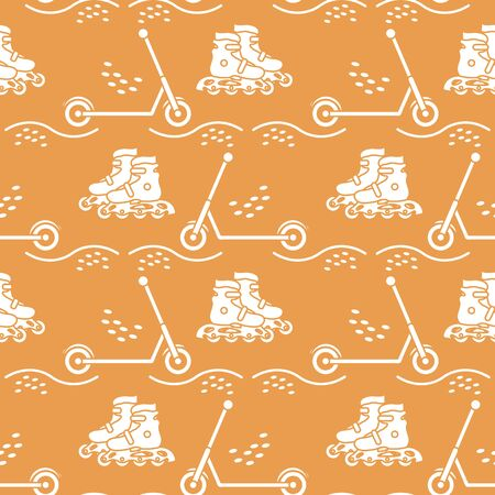 Vector seamless pattern with rollers, kick scooter. Athletic, healthy lifestyle for every person. Family vacation. Sports background. Design for packaging paper, fabric, print. Çizim