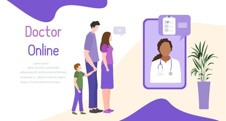 Online doctor vector illustration concept Family with child consults doctor by smartphone Online medical support supervision monitoring services. Healthcare. Flat style Design for website, app, print