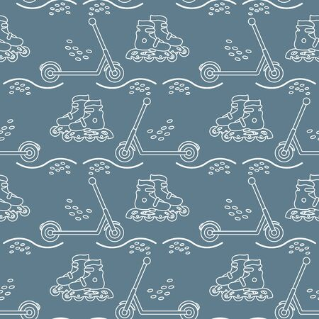 Vector seamless pattern with rollers, kick scooter. Athletic, healthy lifestyle for every person. Family vacation. Sports background. Design for packaging paper, fabric, print. Stok Fotoğraf - 133418978