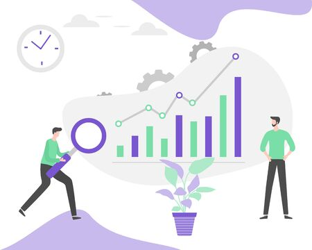Vector illustration Investment growth, financial increase, development People Research, strategy selection, statistics, planning, marketing, study of performance indicators Business analysis concept