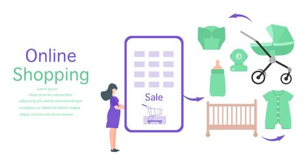 Vector illustration Pregnant woman makes purchases in online store. Phone, stroller, crib, bottle, baby monitor, diaper, bodysuit Newborn baby accessories Online shopping Technology and people concept