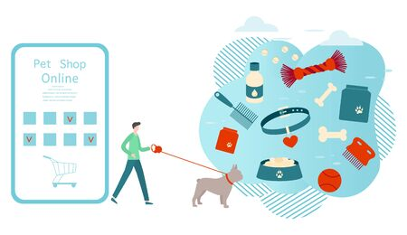 Vector illustration person walking with dog on leash and makes purchases in online pet shop Pet care accessory Bowl, food, collar, bone, vitamins, comb, toy Design for website, landing page, print