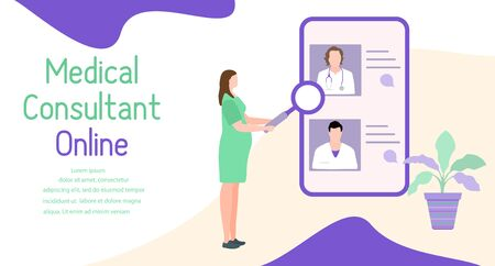 Online doctor vector illustration concept Pregnant woman consults a doctor by smartphone Online medical support supervision monitoring services. Healthcare. Flat style Design for website, app, print