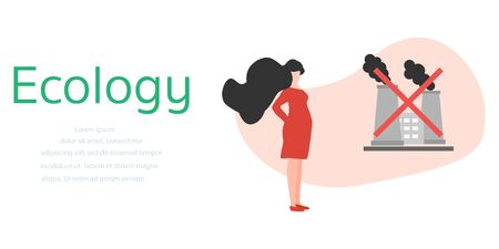 Vector illustration with pregnant woman, factory pipes emitting smoke. Air Environmental pollution concept. Ecology Industrial smog, contamination, combustion products Protecting people health