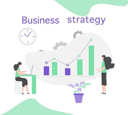 Vector illustration People Development Business strategy, profit growth planning, financial increase Research, statistics, marketing, study performance indicators, optimization, data analysis concept Stock Illustratie