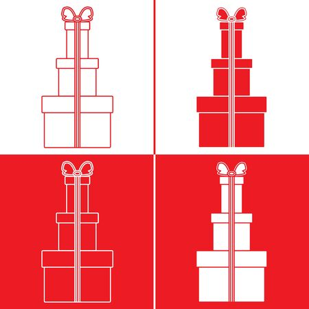 Vector illustration with gift boxes. Happy new year 2020, Merry Christmas, Valentines day, birthday, Mothers day, Fathers day, boxing day. Shopping, sale. Ilustracja