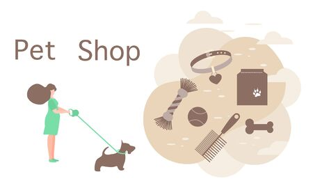 Vector illustration Girl walking with dog on leash Pet Shop Pet care accessory Food, collar, bone, comb, toy Design element for website, banner, landing page, poster, print